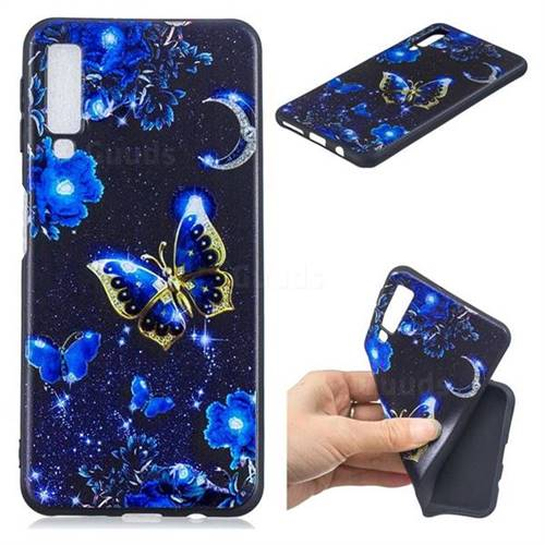 Phnom Penh Butterfly 3D Embossed Relief Black TPU Cell Phone Back Cover for Samsung Galaxy A7 (2018)