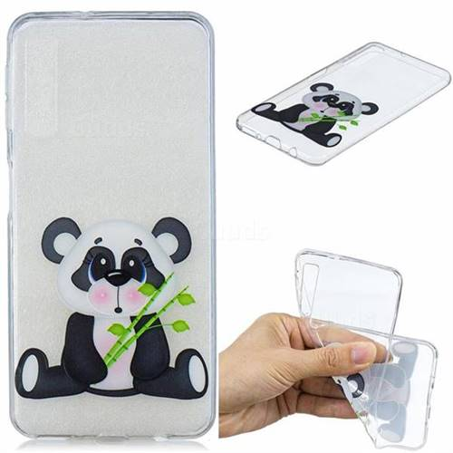 Bamboo Panda Clear Varnish Soft Phone Back Cover for Samsung Galaxy A7 (2018)