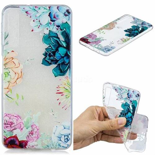 Gem Flower Clear Varnish Soft Phone Back Cover for Samsung Galaxy A7 (2018)