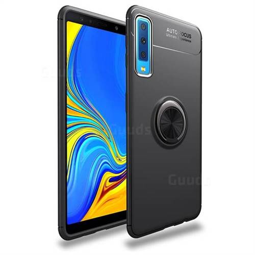 Auto Focus Invisible Ring Holder Soft Phone Case for Samsung Galaxy A7 (2018) - Black