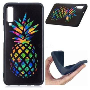 huge discount 87fdb ad36e Colorful Pineapple 3D Embossed Relief Black Soft Back Cover for Samsung  Galaxy A7 (2018)