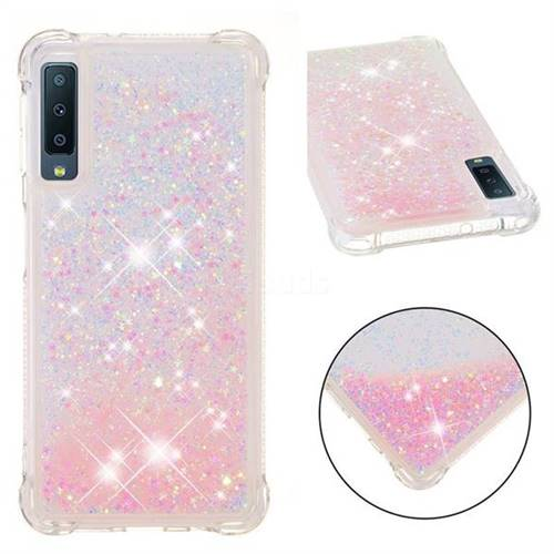 Dynamic Liquid Glitter Sand Quicksand TPU Case for Samsung Galaxy A7 (2018) - Silver Powder Star