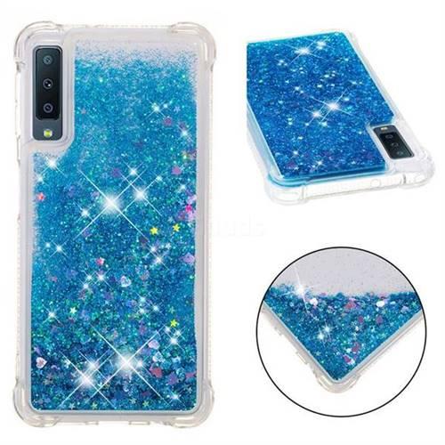 Dynamic Liquid Glitter Sand Quicksand TPU Case for Samsung Galaxy A7 (2018) - Blue Love Heart