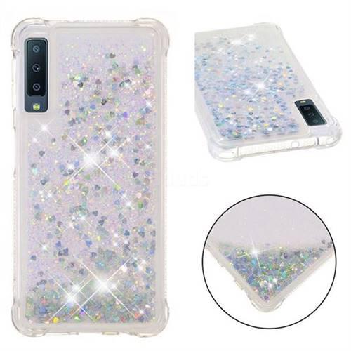 Dynamic Liquid Glitter Sand Quicksand Star TPU Case for Samsung Galaxy A7 (2018) - Silver