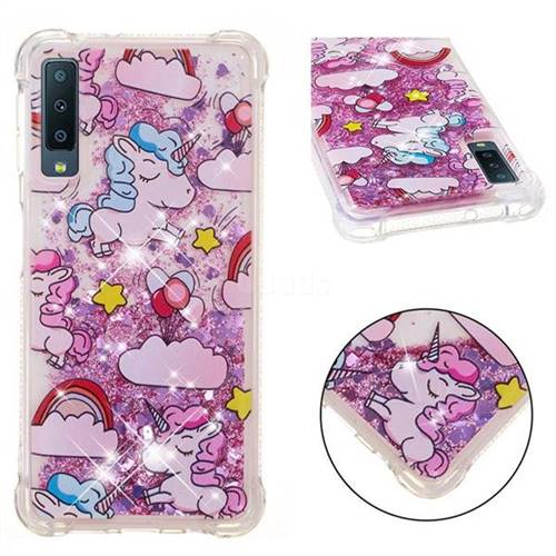 Angel Pony Dynamic Liquid Glitter Sand Quicksand Star TPU Case for Samsung Galaxy A7 (2018)