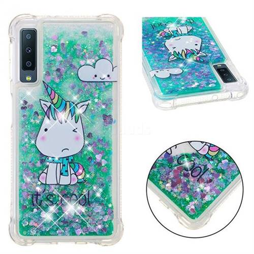 Tiny Unicorn Dynamic Liquid Glitter Sand Quicksand Star TPU Case for Samsung Galaxy A7 (2018)