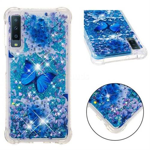 Flower Butterfly Dynamic Liquid Glitter Sand Quicksand Star TPU Case for Samsung Galaxy A7 (2018)