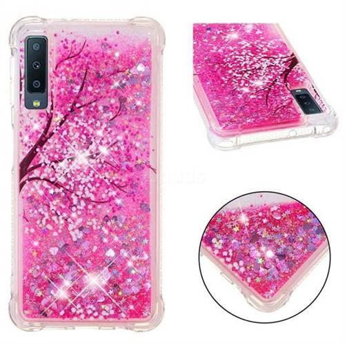 Pink Cherry Blossom Dynamic Liquid Glitter Sand Quicksand Star TPU Case for Samsung Galaxy A7 (2018)