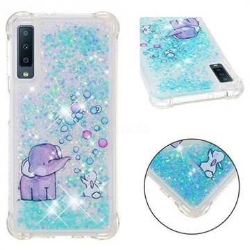 Bubble Jumbo Rabbit Dynamic Liquid Glitter Sand Quicksand Star TPU Case for Samsung Galaxy A7 (2018)