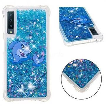 Happy Dolphin Dynamic Liquid Glitter Sand Quicksand Star TPU Case for Samsung Galaxy A7 (2018)