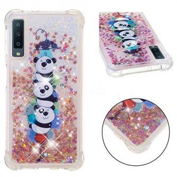 Three Pandas Dynamic Liquid Glitter Sand Quicksand Star TPU Case for Samsung Galaxy A7 (2018)