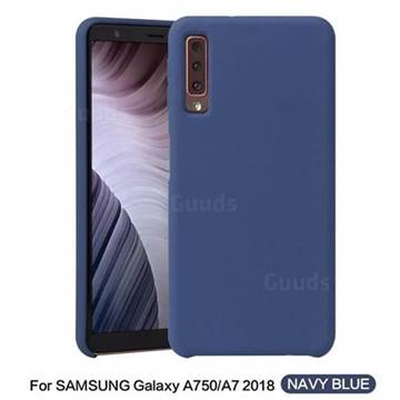 separation shoes 78c5b 9a871 Howmak Slim Liquid Silicone Rubber Shockproof Phone Case Cover for Samsung  Galaxy A7 (2018) - Midnight Blue