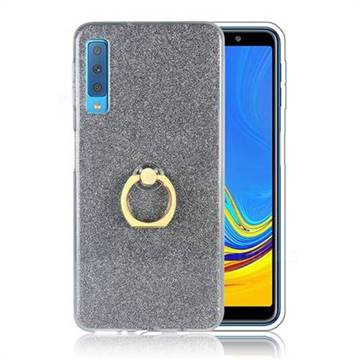 Luxury Soft TPU Glitter Back Ring Cover with 360 Rotate Finger Holder Buckle for Samsung Galaxy A7 (2018) A750 - Black