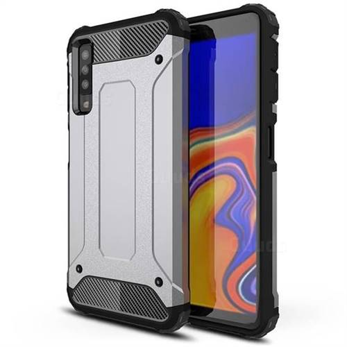 King Kong Armor Premium Shockproof Dual Layer Rugged Hard Cover for Samsung Galaxy A7 (2018) A750 - Silver Grey