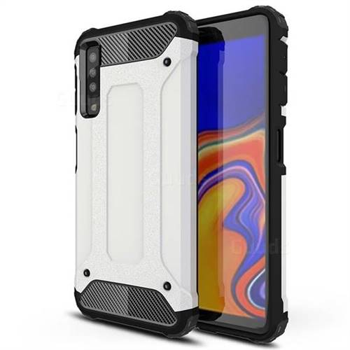 King Kong Armor Premium Shockproof Dual Layer Rugged Hard Cover for Samsung Galaxy A7 (2018) A750 - White