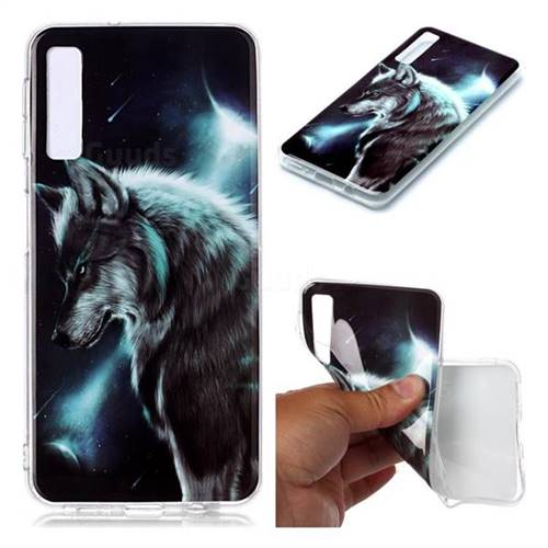 Fierce Wolf Soft TPU Cell Phone Back Cover for Samsung Galaxy A7 (2018) A750