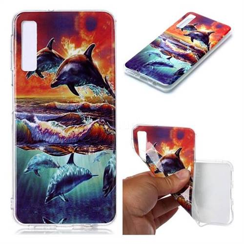 Flying Dolphin Soft TPU Cell Phone Back Cover for Samsung Galaxy A7 (2018) A750