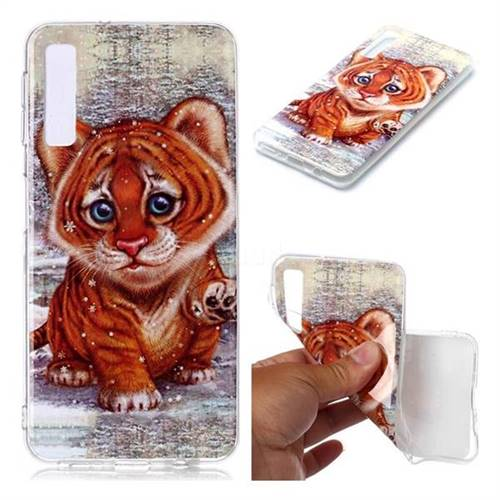 Cute Tiger Baby Soft TPU Cell Phone Back Cover for Samsung Galaxy A7 (2018) A750