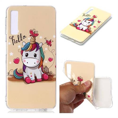 Hello Unicorn Soft TPU Cell Phone Back Cover for Samsung Galaxy A7 (2018) A750