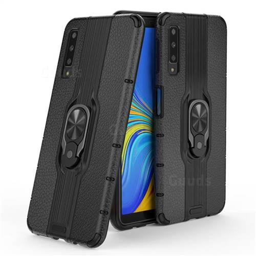 Alita Battle Angel Armor Metal Ring Grip Shockproof Dual Layer Rugged Hard Cover for Samsung Galaxy A7 (2018) A750 - Black