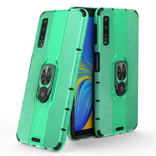 Alita Battle Angel Armor Metal Ring Grip Shockproof Dual Layer Rugged Hard Cover for Samsung Galaxy A7 (2018) A750 - Green