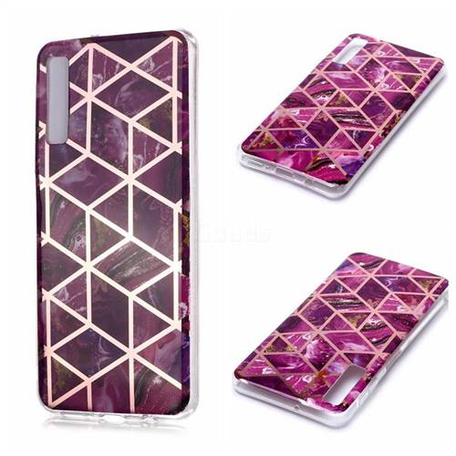 Purple Rhombus Galvanized Rose Gold Marble Phone Back Cover for Samsung Galaxy A7 (2018) A750
