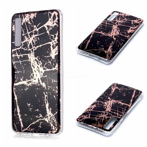 Black Galvanized Rose Gold Marble Phone Back Cover for Samsung Galaxy A7 (2018) A750