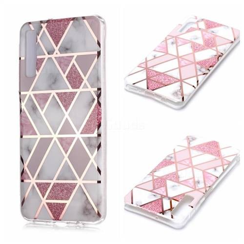 Pink Rhombus Galvanized Rose Gold Marble Phone Back Cover for Samsung Galaxy A7 (2018) A750