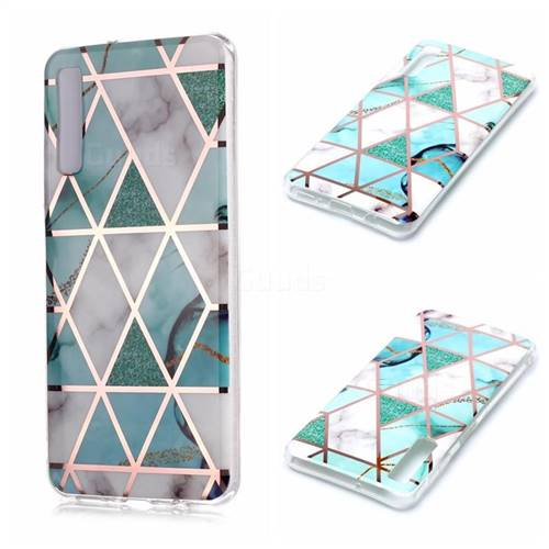 Green White Galvanized Rose Gold Marble Phone Back Cover for Samsung Galaxy A7 (2018) A750