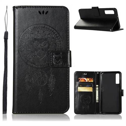 Intricate Embossing Owl Campanula Leather Wallet Case for Samsung Galaxy A7 (2018) - Black