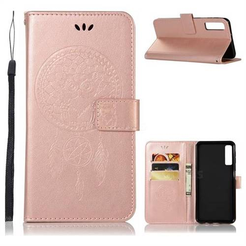 Intricate Embossing Owl Campanula Leather Wallet Case For Samsung Galaxy A7 2018 Rose Gold