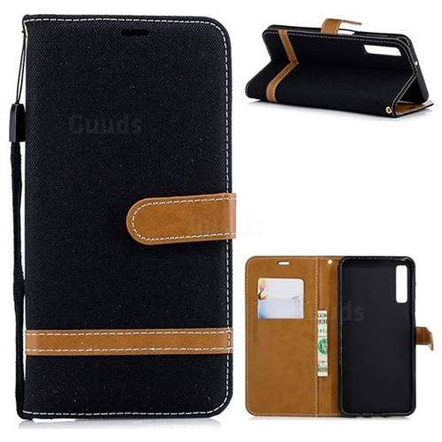 Jeans Cowboy Denim Leather Wallet Case for Samsung Galaxy A7 (2018) - Black