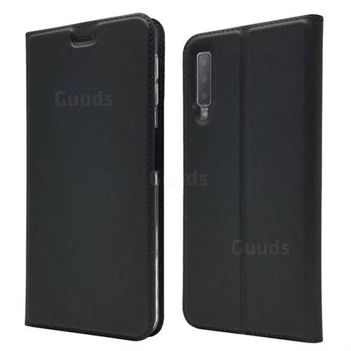 Ultra Slim Card Magnetic Automatic Suction Leather Wallet Case for Samsung Galaxy A7 (2018) - Star Grey