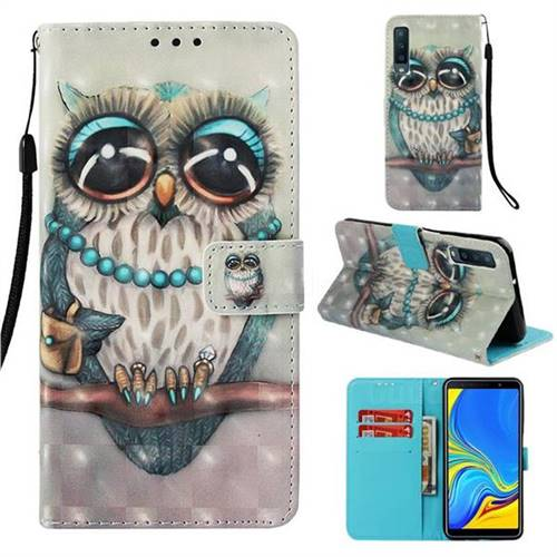 Sweet Gray Owl 3D Painted Leather Wallet Case for Samsung Galaxy A7 (2018)