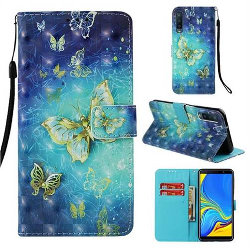 Gold Butterfly 3D Painted Leather Wallet Case for Samsung Galaxy A7 (2018)