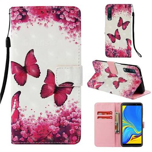 Rose Butterfly 3D Painted Leather Wallet Case for Samsung Galaxy A7 (2018)