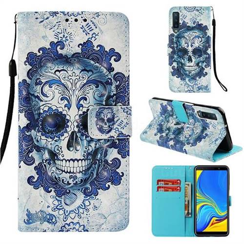 Cloud Kito 3D Painted Leather Wallet Case for Samsung Galaxy A7 (2018)