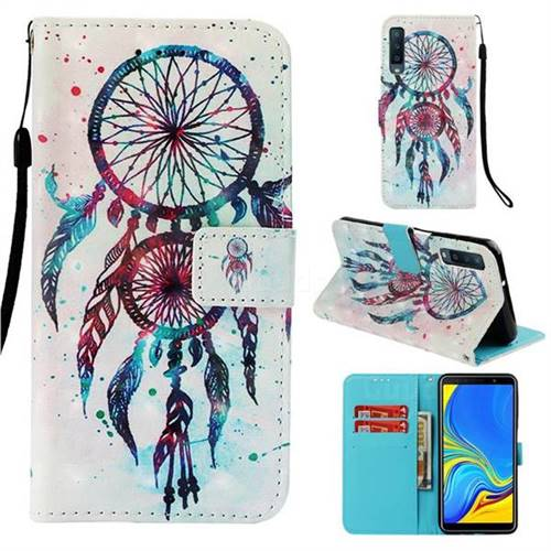 ColorDrops Wind Chimes 3D Painted Leather Wallet Case for Samsung Galaxy A7 (2018)