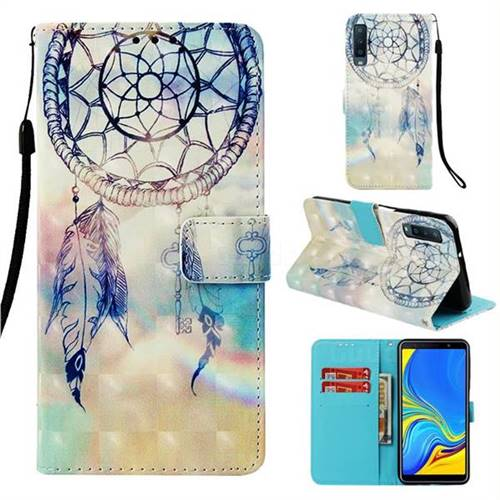 Fantasy Campanula 3D Painted Leather Wallet Case for Samsung Galaxy A7 (2018)