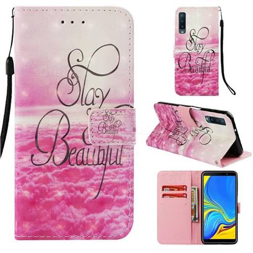 Beautiful 3D Painted Leather Wallet Case for Samsung Galaxy A7 (2018)
