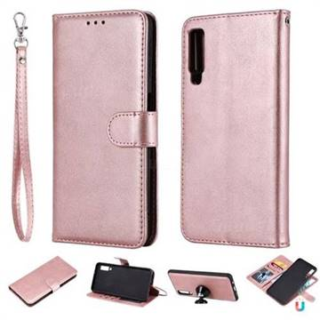 the latest c22b2 c29ca Retro Greek Detachable Magnetic PU Leather Wallet Phone Case for Samsung  Galaxy A7 (2018) - Rose Gold