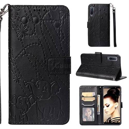 Embossing Fireworks Elephant Leather Wallet Case for Samsung Galaxy A7 (2018) - Black