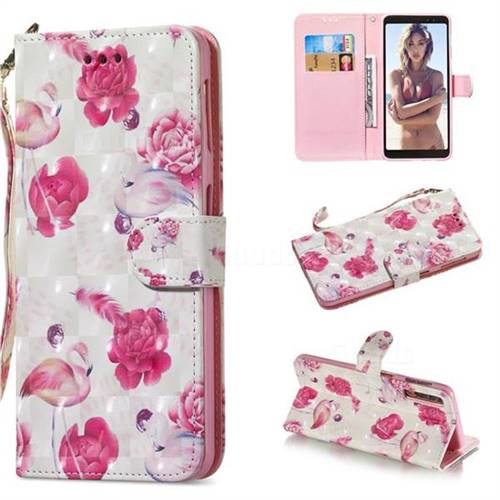 Flamingo 3D Painted Leather Wallet Phone Case for Samsung Galaxy A7 (2018)