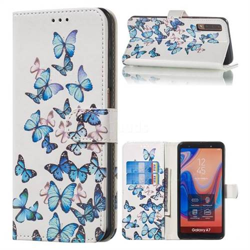 Blue Vivid Butterflies PU Leather Wallet Case for Samsung Galaxy A7 (2018) A750