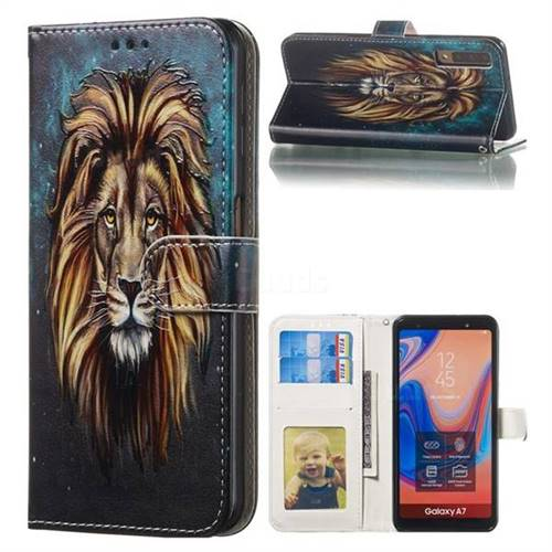Ice Lion 3D Relief Oil PU Leather Wallet Case for Samsung Galaxy A7 (2018) A750