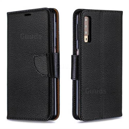 Classic Luxury Litchi Leather Phone Wallet Case for Samsung Galaxy A7 (2018) A750 - Black