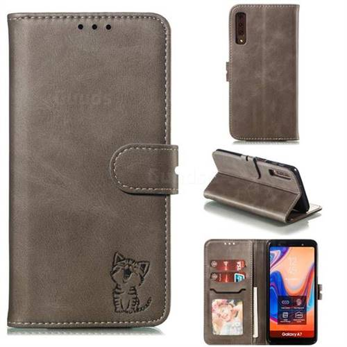 Embossing Happy Cat Leather Wallet Case for Samsung Galaxy A7 (2018) A750 - Gray