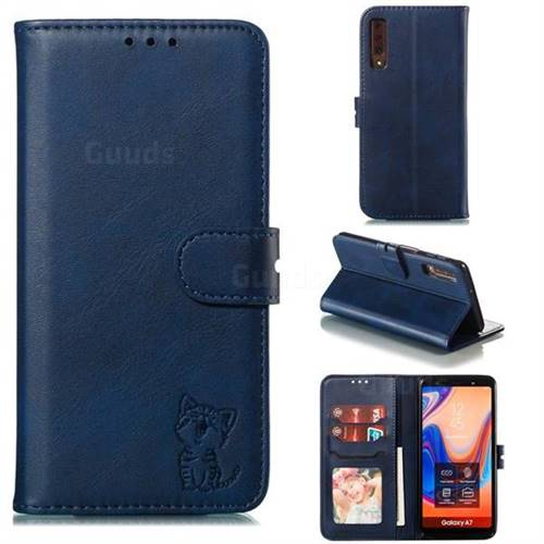 Embossing Happy Cat Leather Wallet Case for Samsung Galaxy A7 (2018) A750 - Blue