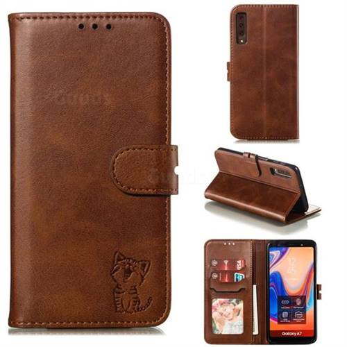 Embossing Happy Cat Leather Wallet Case for Samsung Galaxy A7 (2018) A750 - Brown