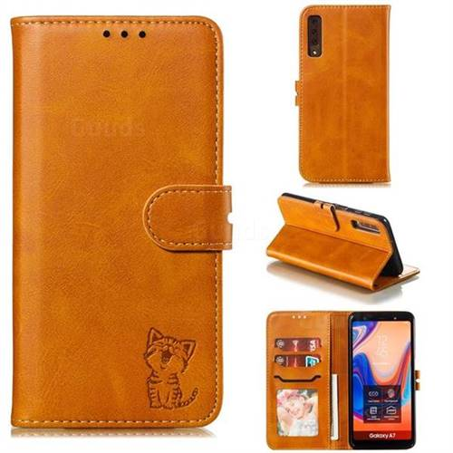 Embossing Happy Cat Leather Wallet Case for Samsung Galaxy A7 (2018) A750 - Yellow